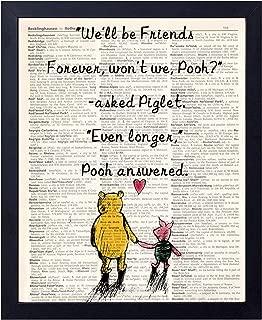 akeke Classic Winnie The Pooh Vintage Book Art Prints - Best Friend Birthday Gift 8x10 Unframed Art Poster - Great Child/Boy/Girl/Nursery Room Decor (Will be Friend)