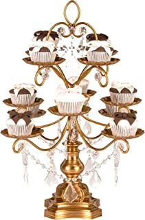 Amalfi Decor 12-Piece Dessert Cupcake Stand, Large Pastry Candy Cake Cookie Tray Tower Holder Plate for Wedding Event Birthday Party, Display Pedestal with Crystals, Gold