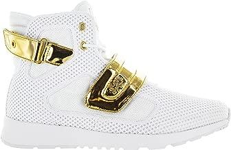 Vlado Footwear Men's Atlas III White/Gold Knitted Mesh High Top Sneaker US 10.5