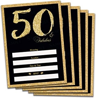 50th Birthday or Anniversary Invitations, envelopes and Stickers Included Gold and Black 50 and Fabulous (50)