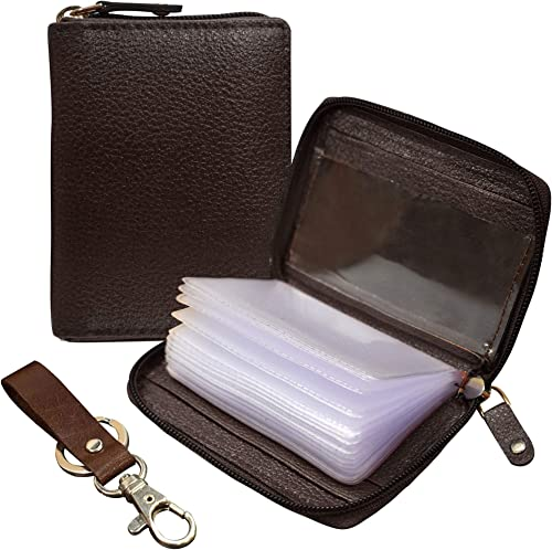 ABYS Genuine Leather Dark Brown Men Wallet  Business Card Case  Card Holder with Zip Closure (Set of 2 - One Wallet &...