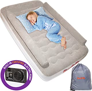 KareCaddy Toddler Air Mattress - Kids AirBed with Built-in Electric Pump, Kids Air Mattress with Sides Rails, Inflatable Toddler Travel Bed with Bumpers, Camping Portable Kids Air Bed