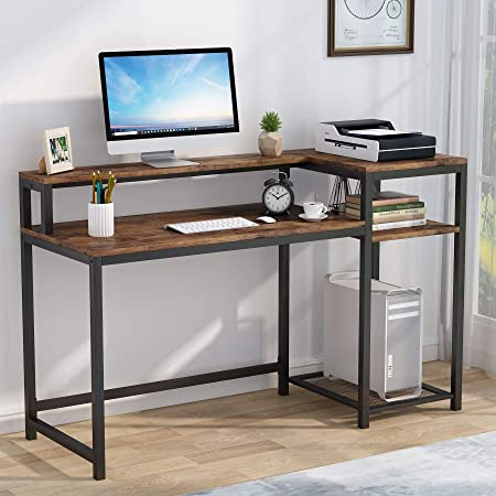 Tribesigns Bureau d'ordinateur avec Etagère de Rangement, Support d'écran, Industriel Table d'étude, Table de Travail en Bois, 140x50x91cm (Marron Vintage)
