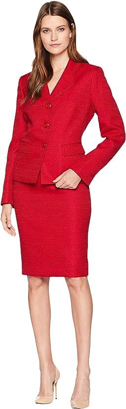 Tweed Three-Button Skirt Suit