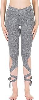 icyzone Women's Running Leggings Cutout Tie Cuff Slim Yoga Pants Jogger Workout Tights
