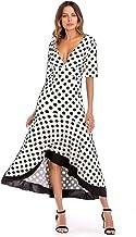 JDKQY Ladies Plus Size Polka Dot Print Dress Beach Vacation Beach Dress