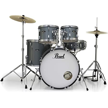 Pearl Roadshow Drum Set 5-Piece Complete Kit with Cymbals and Stands, Charcoal Metallic (RS525SC/C706)
