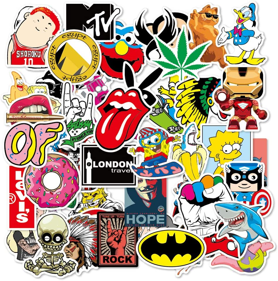 100Pcs Graffiti Band Stickers for Adults and Kids, Waterproof Vinyl Stickers for Laptop Water Bottle Skateborad Luggage Bike Bed Chair Refrigerator Toy Guitar etc.