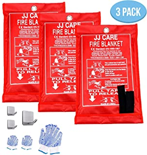 [Pack of 3] Fire Blanket Fire Suppression Blanket with Fire Protective Gloves and Hooks -Suitable for Camping, Grilling, Kitchen Safety, Car and Fireplace Retardant Blanket for Emergency