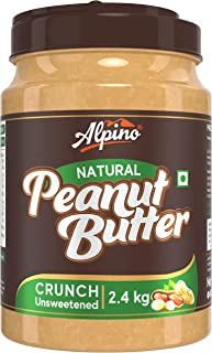 Alpino Natural Peanut Butter Crunch 2.4 KG | Unsweetened | Made with 100% Roasted Peanuts | 30% Protein | No Added Sugar |...