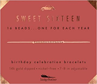 Lucky Feather Sweet 16 Gifts for Girls; 16th Birthday Bracelet Gift Idea for 16 Year Old Girls with 14K Gold Dipped Beads on Adjustable Cord