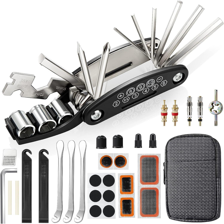 URBZUE Kit Reparación Herramientas Bicicleta 27pcs, con 16 en 1 Herramienta Multifunción, Plegables y Portátil, Reparación de Pinchazos, con Bolsa, Parches y Palancas para Neumáticos
