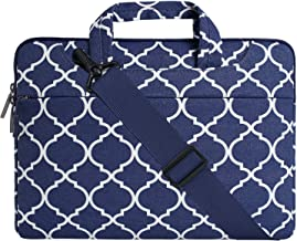 MOSISO Laptop Shoulder Bag Compatible with 12.3 inch Microsoft Surface Pro X/7/6/5/4/3, 11-11.6 inch MacBook Air, Ultrabook Tablet, Canvas Geometric Pattern Briefcase Sleeve Case, Navy Blue Quatrefoil