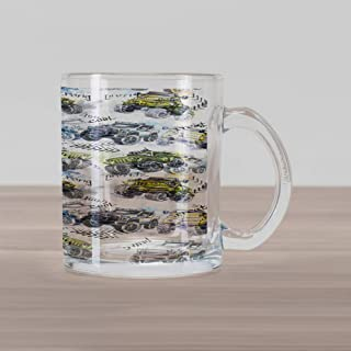 Ambesonne Cars Glass Mug, Hand Drawn Watercolored Monster Trucks Enormous Wheels Off Road Lifestyle, Printed Clear Glass Coffee Mug Cup for Beverages Water Tea Drinks, Yellow Lavender Blue