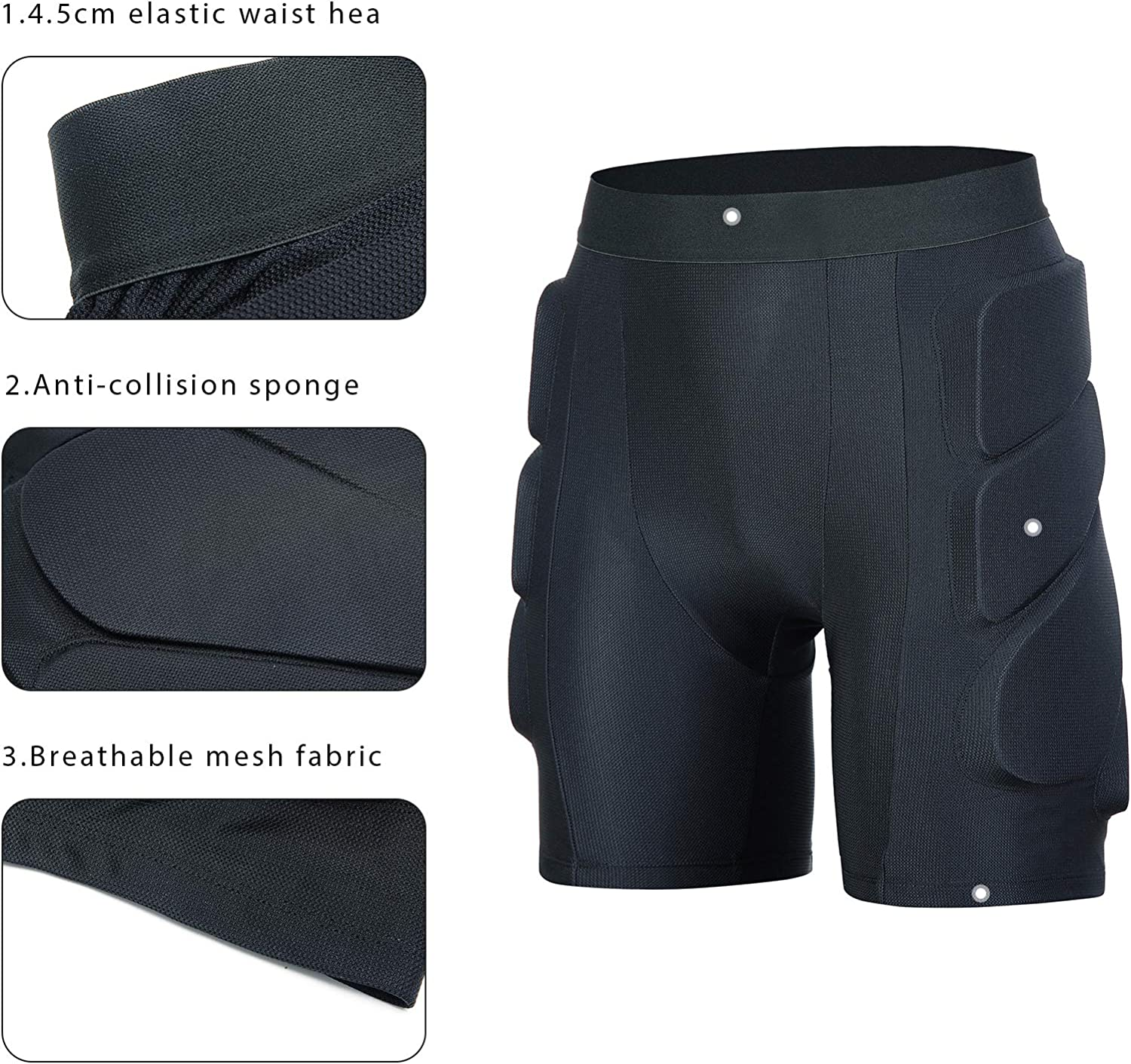beroy Padded Shorts - Cycling-Underwear- Shorts-Protective Hip-Butt-Tailbone - Protection Shorts for Ski Skate : Sports & Outdoors