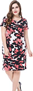 Women's Plus Size Floral Printed Casual Dress - Round Neck Short Sleeves Knee Length
