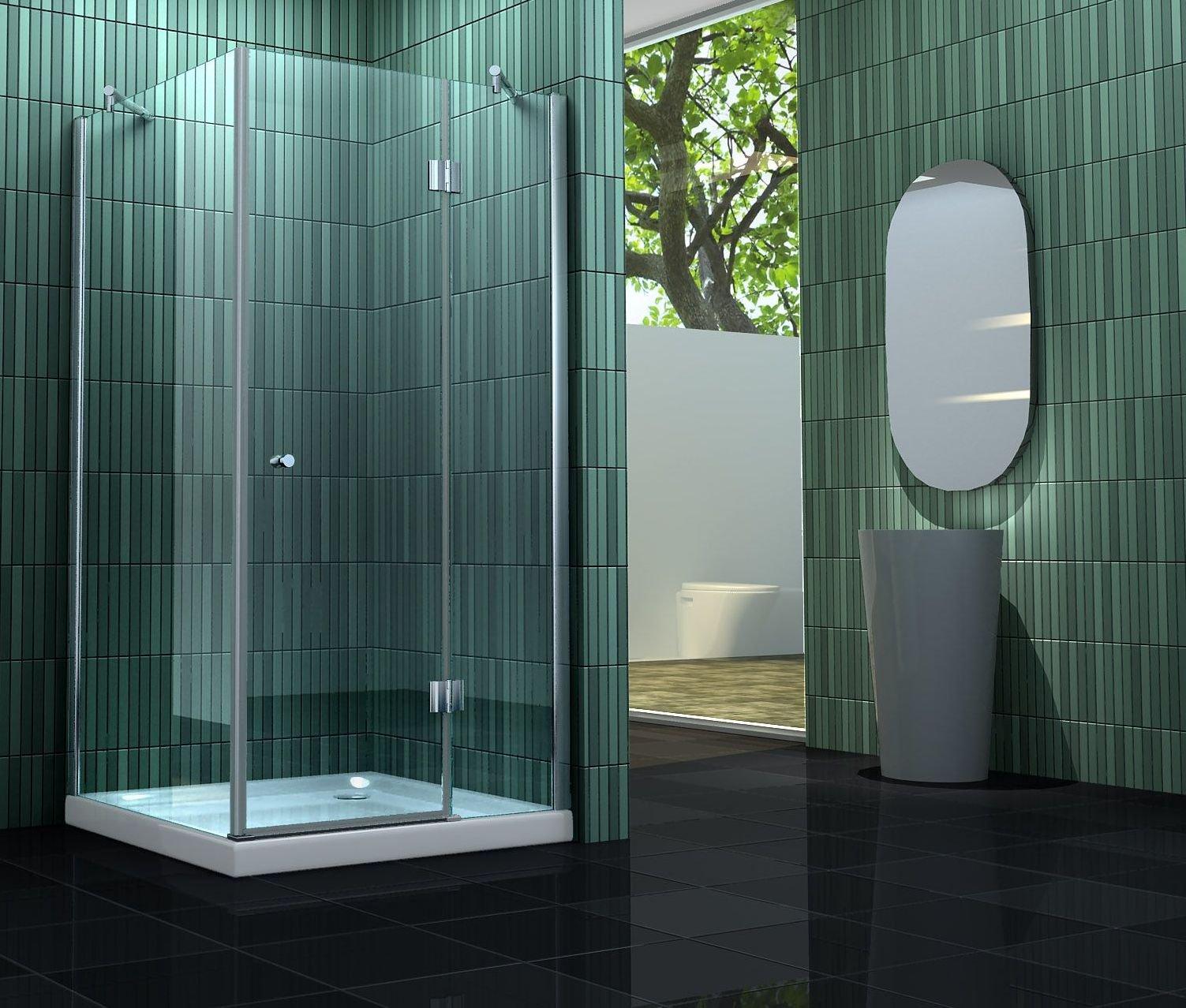 Mampara de 80 x 180 cm de ducha sin silicona: Amazon.es: Bricolaje y herramientas