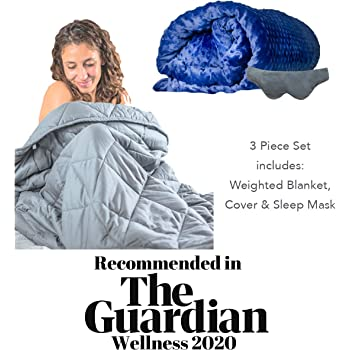 Tranquillow Premium Adult Weighted Blanket 7Kg (15 lbs) 3pcs set with Removable Cover & Reflexology Eye Mask for Improved Sleep & Calmness