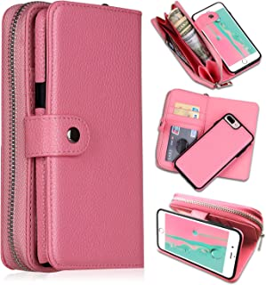 iPhone 7 Plus/iPhone 8 Plus Wallet Cases, [Large Capacity][Magnetic Detachable] CASEOWL 2 in 1 Zipper Pocket Leather Wallet Case with Wrist Strap, Stand, Cards Holder for iPhone 7 Plus/8 Plus-Pink