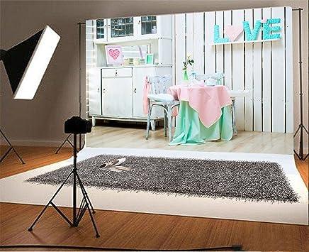 Laeacco 7x5ft Vinyl Photography Backdrop Valentines Day Background Interior Decorations Romantic Love Desk Children Girls Lover