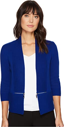 Open Fly-A-Way Zipper Cardigan Sweater