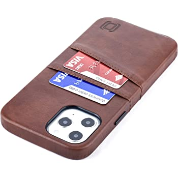 "Dockem Wallet Case for iPhone 12 Pro Max: Built-in Metal Plate for Magnetic Mounting & 2 Credit Card Holders: 6.7"" Luxe M2, Canvas Style Synthetic Leather (Brown)"