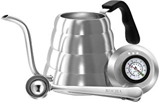 BOCHA - Pour Over Drip Coffee & Tea Kettle, Stainless Steel with Built in Thermometer & Gooseneck Spout (1.2 Liter - New Thermometer)