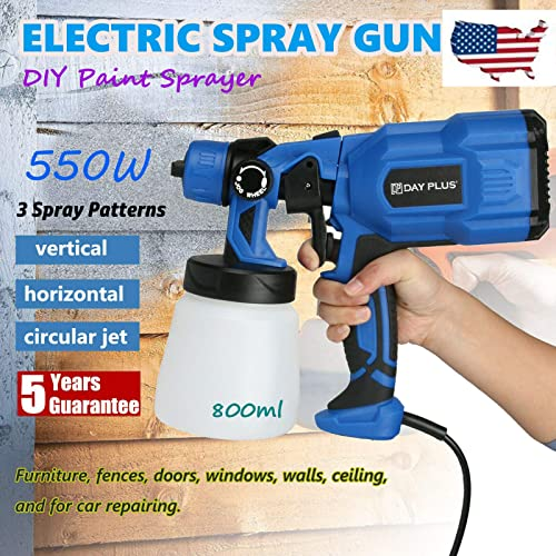 discount Paint Sprayer, 550 Watt HVLP Home online Electric Spray Gun Power Painter with 800ml Detachable Tank Container, online 3 Spray Patterns, 1 Nozzle for Fence, Furniture, Cabinet, Home Painting, Car online
