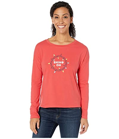 Life is Good Snuggle Up Relaxed Sleep Long Sleeve Top (Americana Red) Women