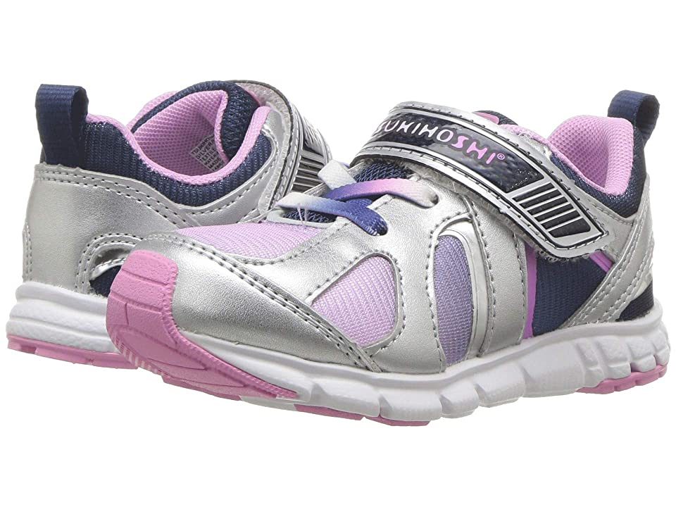 Tsukihoshi Kids Rainbow (Toddler/Little Kid) (Silver/Navy) Girls Shoes