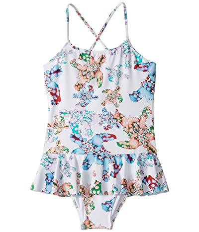 Vilebrequin Kids Grilly Watercolor Turtles One-Piece Swimsuit (Toddler/Little Kids/Big Kids) (White) Girl