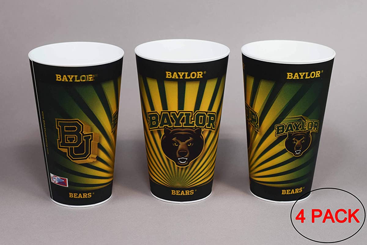 Baylor University Bears Plastic Cup Holographic 22oz Pack Of 4 Tailgating Tumbler Cups Dishwasher Safe BPA Free
