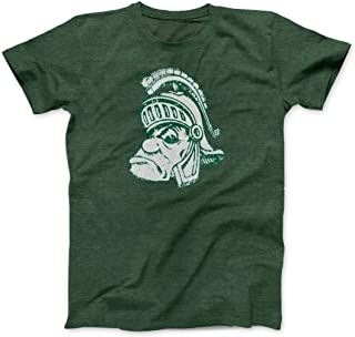 Green Retro Michigan State MSU Spartans Gruff Sparty Face Logo Soft-Blend T-Shirt
