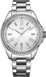 JBW Luxury Women's Capri 0.12 Carat Diamond & Swarovski Crystal Wrist Watch with Stainless Steel Bracelet