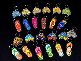 BULK 24 x Australian Souvenir Keyring Keyrings Assorted Map Thong New