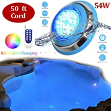 SLK-Customs LED Underwater Swimming Pool Lights,54W RGB Color Changing, 12V AC,20ft Cord Wall Surface Mounted IP68 Waterproof,Stainless Steel,with Remote Controller (20ft)