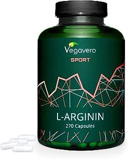 L-Arginina PURA 99.7% Vegavero® Sport | TESTADO EN LABORATORIO | SIN ADITIVOS | 270 Cápsulas | Vasodilatador + Vigorizante + Aumentar Masa Muscular + Disfunción | 700 mg | Pre Entrenos Potentes