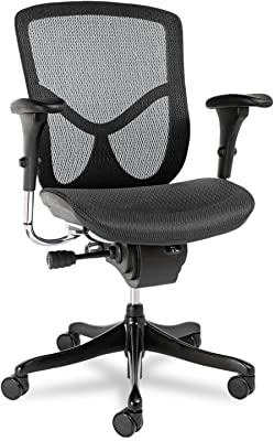 Alera ALEEQA42ME10B EQ Series Ergonomic Multifunction Mid-Back Mesh Chair, Black Base