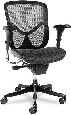 Alera ALEEQA42ME10B EQ Series Ergonomic Multifunction Mid-Back Mesh Chair, Black Base