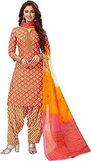 Jevi Prints Women's Cotton Printed Straight Stitched Salwar Suit Set (SUIT_SP-4649_Pink)