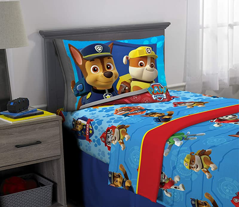 Nickelodeon Paw Patrol Kids Bedding Super Soft Microfiber Sheet Set 3 Piece Twin Size Blue Red Design