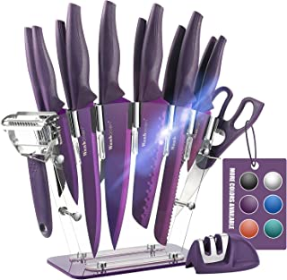 Wanbasion Purple 16 Pieces Kitchen Knife Set Dishwasher Safe, Professional Chef Kitchen Knife Set, Kitchen Knife Set Stain...