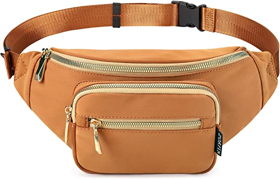 Amazon.com   ZORFIN Fanny Packs for Women Men Fashion waterproof Waist Bag  for Disney Travel Running Walking Hiking (Brown)   Waist Packs
