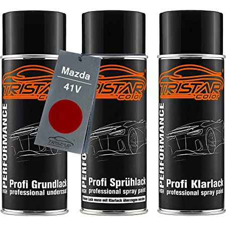 Tristarcolor Car Paint Spray Cans Set For Mazda 41v Soul Red Metallic Ruby Red Metallic Base Coat Spray Can 400 Ml Auto
