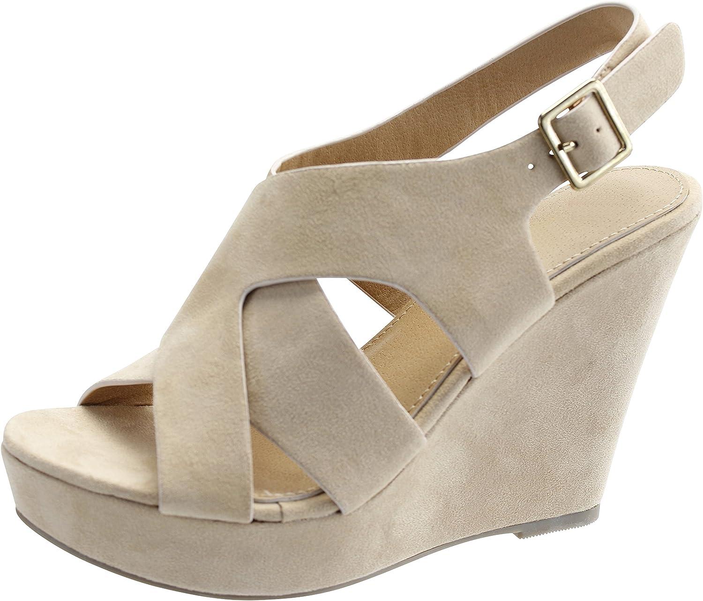 Cambridge Select Women's Open Toe Crisscross Ankle Strappy Side Cutout Platform Wedge Sandal