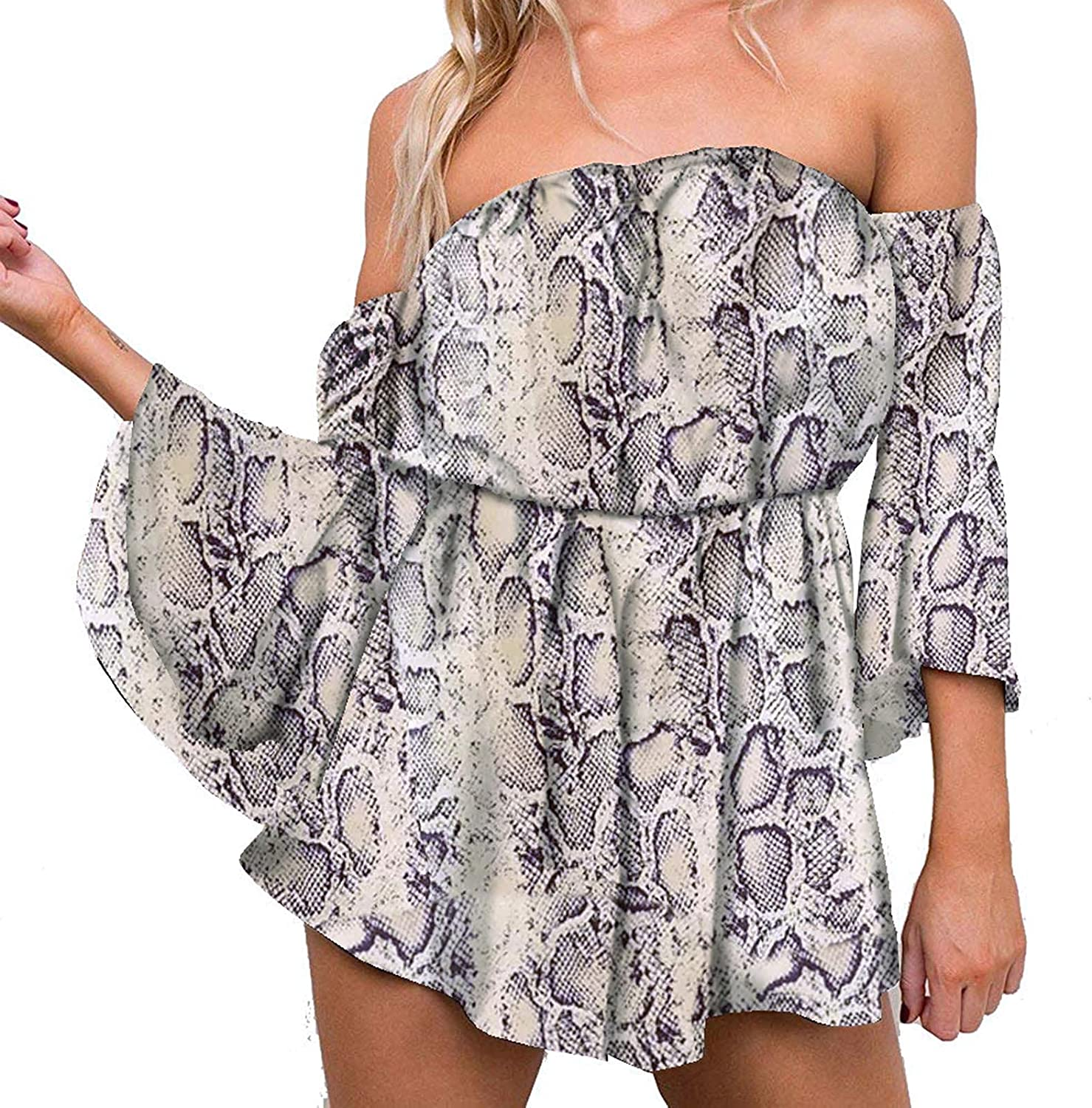 Afelkas Jumpsuit for Women Casual Summer Floral Print Flared Sleeve Rompers Sexy Tube Tops Strapless one-Piece Pants