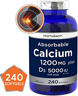 Absorbable Calcium + D3 | 1200 mg | 240 Softgels | 5000 IU Vitamin D3 | Non-GMO, Gluten Free Supplement | by Horbaach
