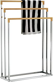 MyGift Freestanding Chrome Plated 3-Tier Bamboo Towel Bar, Bathroom Towel Rack