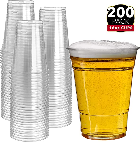 200 Clear Plastic Cups 16 Oz Plastic Cups Clear Disposable Cups PET Cups Plastic Water Cups Plastic Beer Cups Clear Plastic Party Cups Crystal Clear Cups