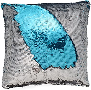 Grab Classy Genie Sequin Cushion Mermaid Glam Pillow Cushion Cover Pillow/not Included |Turquoise/Silver 16 X 16 inches